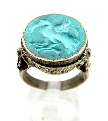 Post Medieval Silver Ring With Carved Stone Depicting Monkey  - C61