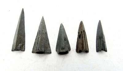 Lot Of 5 Ancient Scythian Bronze Arrow Heads - Ancient Historical Artifacts C66