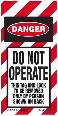 Do Not Operate Tag, LOTO, 6x3, danger, safety, vinyl, C and C Tags, 10 PK