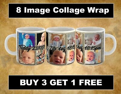 PERSONALISED 8 IMAGE WRAP MUG  Valentines Birthday Christmas Easter GIFT