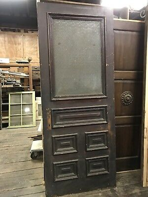 Antique Pine Door With 1/2 Glass And Raised Panel Door 1890's Door Obscure Glass