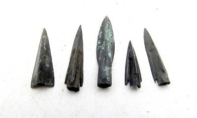 Lot Of 5 Ancient Scythian Bronze Arrow Heads - Ancient Historical Artifacts C93