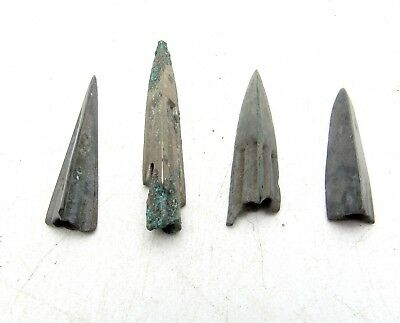 Lot Of 4 Ancient Scythian Bronze Arrow Heads - Ancient Historical Artifacts C94