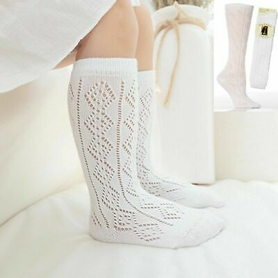 New 1-3 Pairs Girls White Pelerines Socks Long Back To School Knee High Pelerine