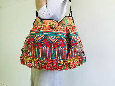 Large Vintage Hmong Embroidered Applique Bag from Thailand