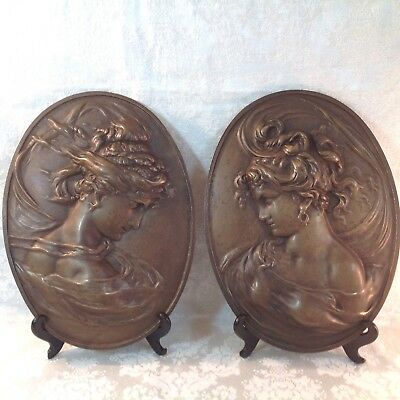 Antique RARE Pair of CAST BRONZE OVAL PLAQUES OF MAIDENS - ART NOUVEA - FRENCH