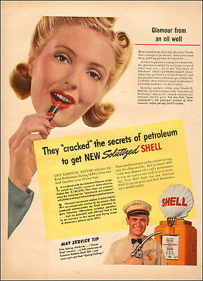 1941 vintage AD SHELL Oil Research,  Lipstick from Oil Wells!  010618