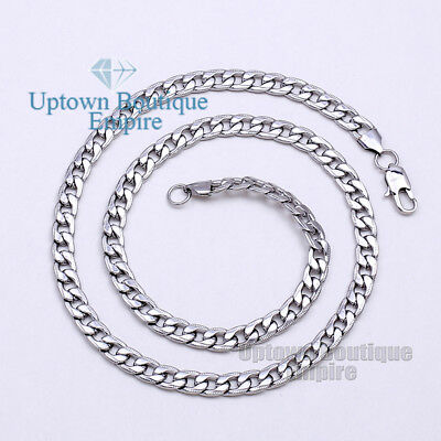 "18-36"" Silver Paved Cuban Stainless Steel 6 mm Chain Necklace for Men's #10"