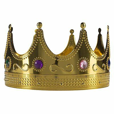 Regal King Crown Jeweled Gold Plastic Novelty Costume Party Accessory