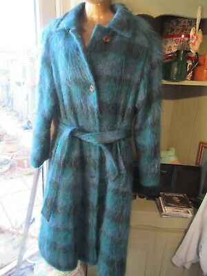 Vintage Jacob Crowley Mohair/wool blend coat, teal, perfect for Spring. size 16