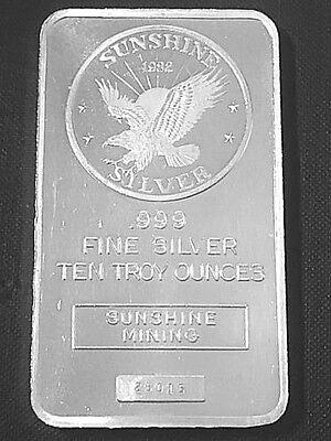 1982 Sunshine Mining 10 Troy Ounces oz .999 Fine Silver Bar 25015