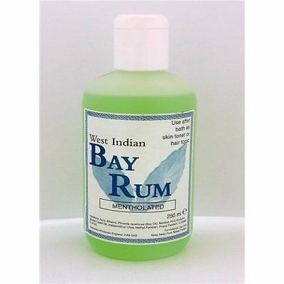 2 x West Indian Bay Rum Hair OR Skin Tonic /250ml Mentholated