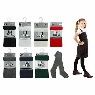 Girls Tights Cotton Plain Super Soft School Tights Age 3 - 12 Yrs Black Grey Red