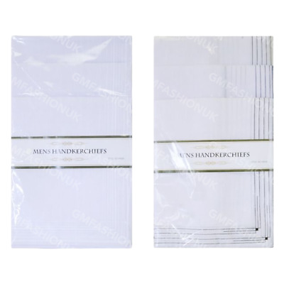 Pack of 20 Mens Hankies Handkerchiefs White Plain Or Borders Cotton Polyester