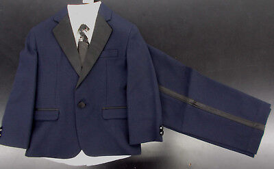 Boys Geoffrey Beene $85 4pc Navy w/ Black Trim Tuxedo Size 4 - 7