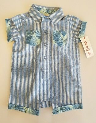 91a335d87dde CAT   JACK Baby Boy s One-Piece Summer Romper Palms Stripes▫Size 0 ...