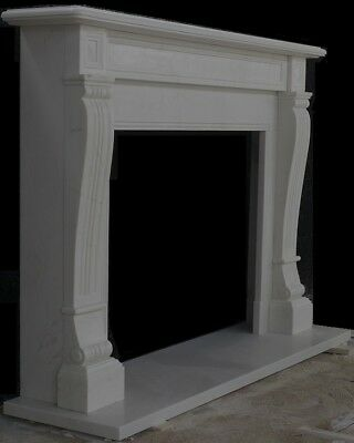 """ENGLISH MANTLE  - SIMPLE LINES – Hand Carved White Marble Mantel - 67"""" wide"""