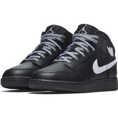 {554725-049} Gradeschool Nike Air Jordan 1 Mid (Gs) Black/white *new*