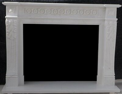 """Hand Carved ENGLISH MANTEL White Marble – 67"""" wide Mantle - GREAT CARVING"""