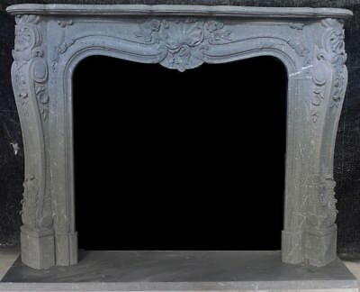 """Hand Carved French Mantle – Gray Marble – 67"""" Wide – Very Unque Mantel"""