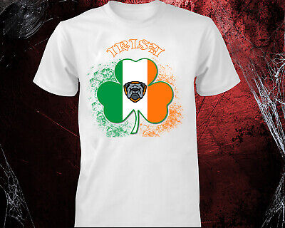 St Patricks Day T-shirt Ireland FLAG Shamrock Paddys Day Men Women kids tee top