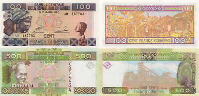 Guinea 2 Note Set: 100 & 500 Francs (2012) - p35b & p39b