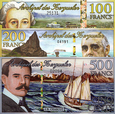 Kerguelen Islands 3 Note Set: 100, 200 and 500 Francs UNC