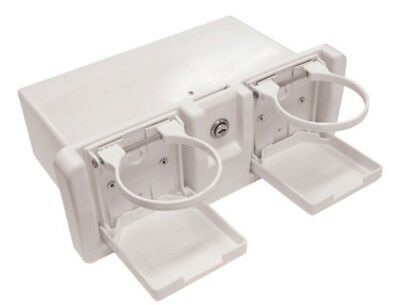 Glove Box Deluxe with 2 x folding drink holders Boat Caravan White