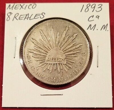 Mexico 8 Reales 1893 CA M.M Silver, THIS COIN WAS WORLD CURRENCY OF 1800'S