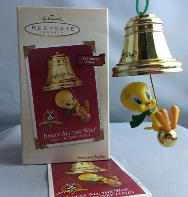 """2003 Hallmark """"Jingle All The Way!"""" Ornament With Box Voice Looney Tunes Tweety"""