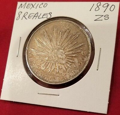 Mexico 8 Reales 1890 Zs F.Z. Silver, THIS COIN WAS WORLD CURRENCY OF 1800'S