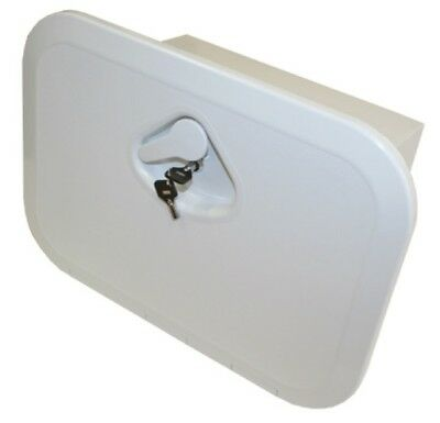 Access Hatch with Storage Box for Caravan Boat RV Marine White Lid and Key