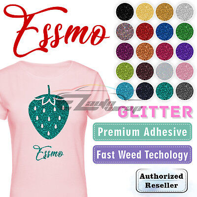 "ESSMO™ Glitter Heat Transfer Vinyl HTV Sheet T-Shirt 20"" Wide Iron On Heat Press"