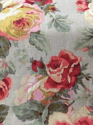 Vintage Looking Floral Cabbage Roses Shabby Chic Washed Look Drapery