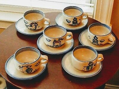 Vintage M.A. Hadley set of 6 coffee cups and saucers. Signed. Late 1950s. Good s