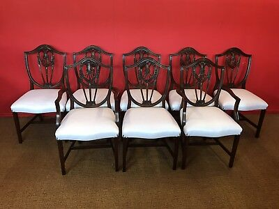 8 Prince Of Wales Style Mahogany Chairs Pro French Polished & Uphostered