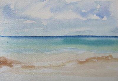 HAND painted WATERCOLOUR artist CARD picture BLUE brown HORIZON CRAFT 18.5 x11.5