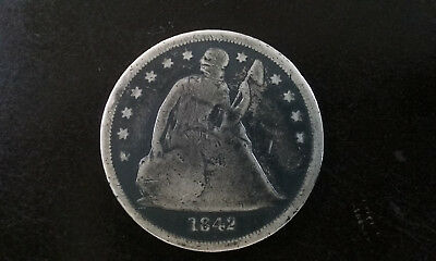 1842  $1 Seated Liberty Silver Dollar.  176 years old!   Always In Demand!