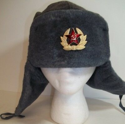 Vintage Authentic Russian Ushanka Gray Military Hat Badge Red Star Hammer Sickle