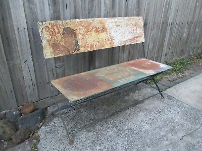 Vintage metal bench seat chair. Folding. Outdoor garden bench seat chair set.