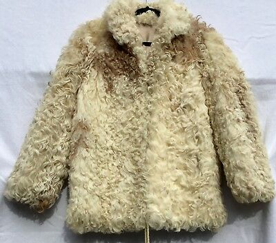 VTG 70s?  Mongolian Curly Lamb?  Coat Cream Ivory Browns Boho Hippie Western