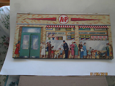 Vintage A & P grocery store cardboard play store diorama with products money  +