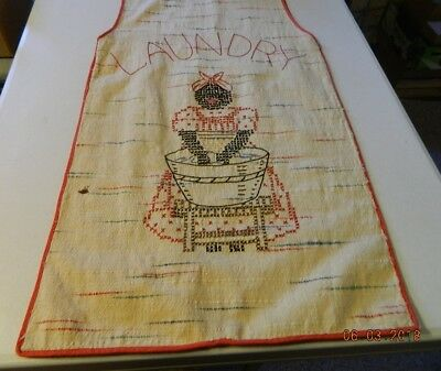 Laundry bag feed sack material hand embroidery black woman