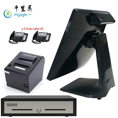 """15"""" Quad Core All In One Touch Screen POS System Restaurant Point Of Sale"""