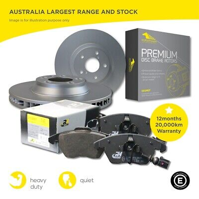 Front and Rear Brake Pads and Disc Rotors Full SET Sensors BMW 320 323 325 E90