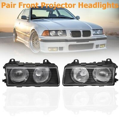 2x Front Euro Projector Clear Headlights Headlamps For BMW E36 3 Series M3 92-99