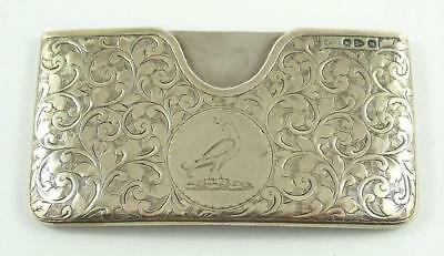 Lovely Antique Sterling Silver Greeting Card Case Hallmarked Chester 1895-96