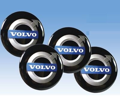 4 x Volvo 56mm Wheel Center Hub Cap Sticker Blue Aluminum Sticker Logo Emblem