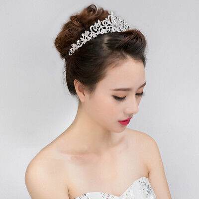 Wedding Prom Party Crystal Tiara Crown Pearl Rhinestone Hair Band Headband