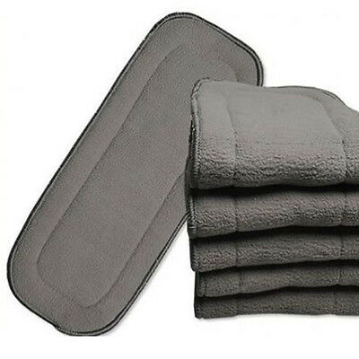 Top  Bamboo Fiber Charcoal Washable Cloth Diaper Nappies Inserts 5 Layers ZU